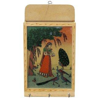 Ganga Craft House Handicraft Gemstone Key Holder Wooden Painting Home Wall Dcor