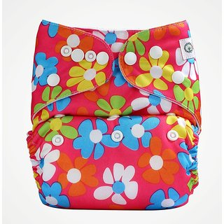 Bumberry Pocket Diaper (Flowers on Pink) and 1 Microfiber Insert