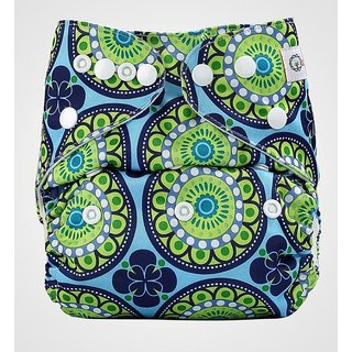 Bumberry Pocket Diaper (Big Round Flowers) and 1 Microfiber Insert