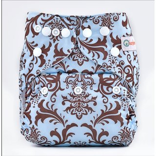 Bumberry Pocket Diaper (Blue Brown Royal) and 1 Microfiber Insert