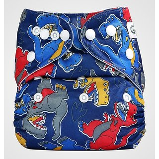 Bumberry Pocket Diaper (Dinosaur) and 1 Microfiber Insert