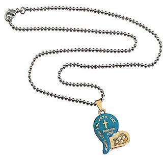 Mens Fashion Jewellery Heart Collection Silver::Blue Valentine Day Special Love Heart In Diamond Design Pendant With Chain