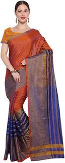 Meia Purple Kota Striped Saree With Blouse
