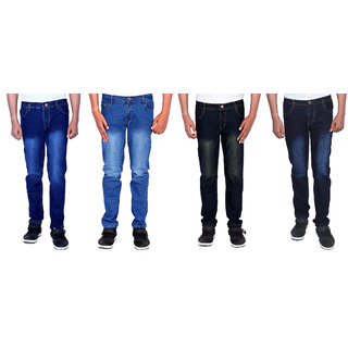 INDICUL Men's Multicolor Regular Fit Jeans (Combo Of 4)