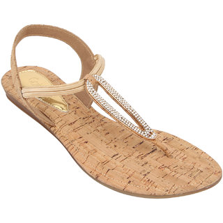 d7218dc75a593 Catwalk Women Gold Sandals