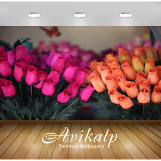 Avikalp Exclusive Premium flowers HD 3D Wallpapers for Living room, Hall, Kids Room, Kitchen, TV Background, Office, Shop etc AWI117