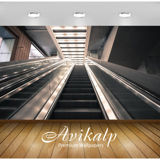 Avikalp Exclusive Premium escalator HD 3D Wallpapers for Living room, Hall, Kids Room, Kitchen, TV Background, Office, Shop etc AWI106