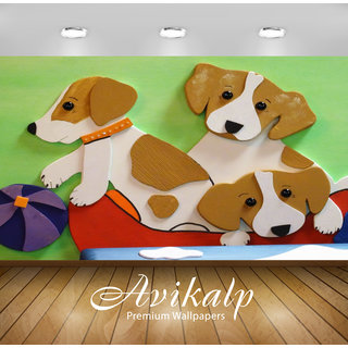 Avikalp Exclusive Premium dogs HD 3D Wallpapers for Living room, Hall, Kids Room, Kitchen, TV Background, Office, Shop etc AWI85