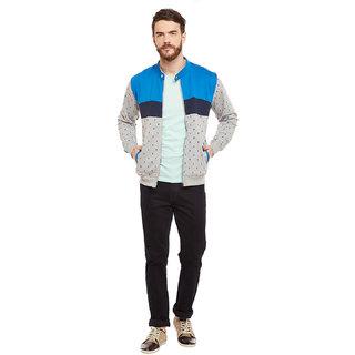 Men's high neck front zipper cut & sew sweatshirt has all over print