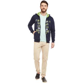 Mens hoodi with front zipper kangaroo pocket sweatshirt has chest print