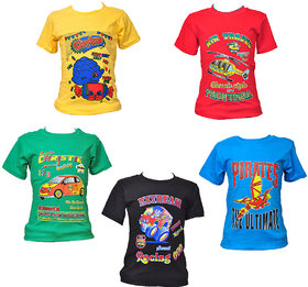 Pari & Prince Cotton T-Shirts Pack of 5 (Assorted Color)