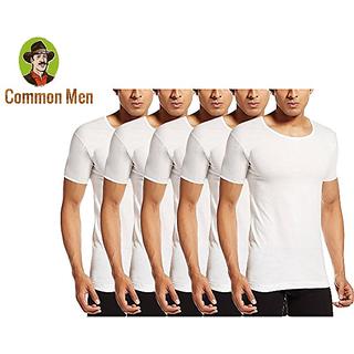 (PACK OF 6) Common Men's Vests For Men - White -RNS