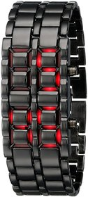 Black Samurai Steel Red Led Digital Watch Cum Bracelet