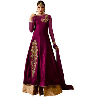 Anarkali For Women's ( Fashion Care Tafeta Silk Embroideried Semi Stitched Anarkali Suit color Pink ideal for  Women's KCVEL103G)