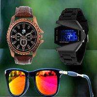 Round Dial Black  Gold Metal Strap Quartz Watch For Men