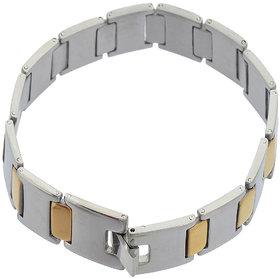 Sanaa Creations Mens Fashion Jewellery Gold SilverGray Antique Cross Design Bracelet for Mens Daily/Party Wear