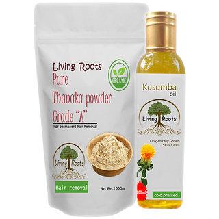 Living Roots Thanaka Powder Grade A 100Gm Kusumba oil 100ml for unwanted  hair