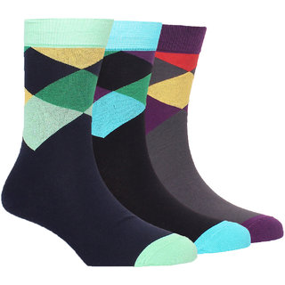 Arrow Mens Formal Calf Length Socks Geometric Pack Of 3 Pair
