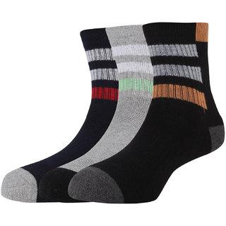 Hush Puppies Mens Sport Ankle Length Socks Stripe Pack Of 3 Pair