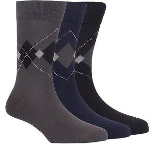 Hush Puppies Mens Formal Calf Length Socks Geometric Pack Of 3 Pair