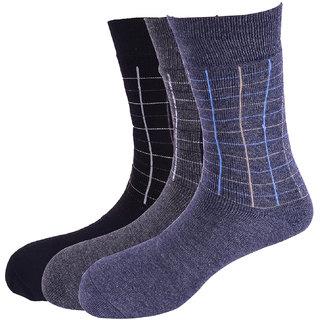 Calzini Mens Warm Tech Terry Calf Length Socks Check Pack Of 3 Pair