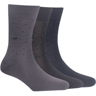 Hush Puppies Mens Formal Calf Length Socks Plain Pack Of 3 Pair With Fine Gassed Mercerised Cotton