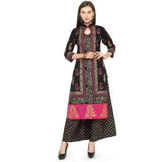 Aadhunik Libaas Black Block Print Straight Cotton Kurti for Women's Girls