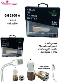 Vingajoy CH-2100 Dual Port High Speed Car Charger with 2 in 1 Cable