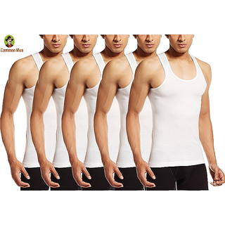 (PACK OF 6) Common Men's Vests For Men - White -RN
