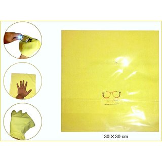 Microfibre yellow CLEANING Cloth (Pack of 5) FOR ALL TYPE OF LENSES ARC LENSES(30CMS X30 CMS)