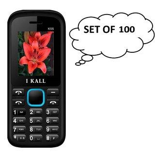 Set of 100  IKall K55 (1.8 Inch  Dual Sim  800mAh Battery  Made In India) Multimedia mobile
