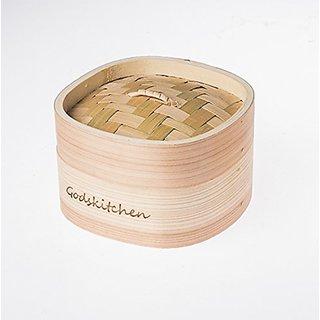 Godskitchen 5 - Square Shape Momos / Dimsum / Wanton Steamer Bamboo Box - Square Shape Momos Bamboo Basket
