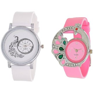 Round Dial White Pink Leather Analog Watch For Women