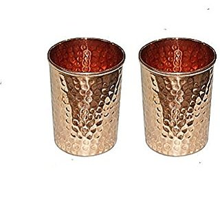 Svm Set Of Two Pure Copper Hammered Luxury Water Glass