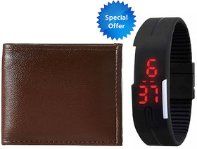 Jack Klein Combo of Leatherite Brown Wallet And  Robotic Magnetic LED Black Watch