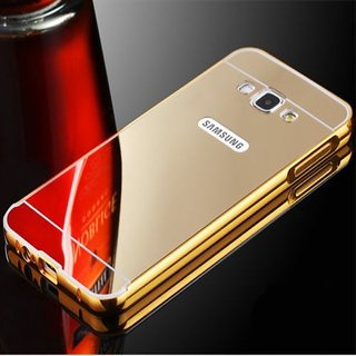 METAL BUMPER FRAME WITH MIRROR BACK COVER CASE FOR SAMSUNG GALAXY J7 (2016) GOLDEN