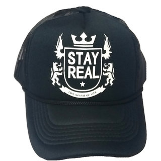 6d3e5425a086d FRIENDSKART Printed Stay Real Black WhiteColour Half Net Cap In Baseball  Style For Boys And Girls Cap