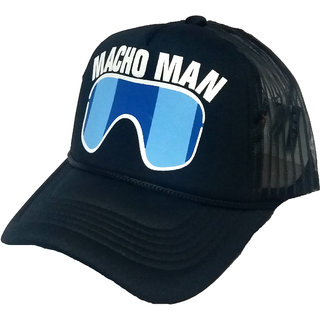 FRIENDSKART Printed Black Macho Man Printed In Black Colour Half Net Cap,Trucker Cap For Boys And Girls Cap