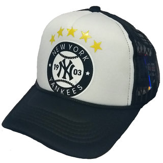 7a15bcf5d3e Buy FRIENDSKART Printed White New York 1903 Printed In Black Colour Half  Net Cap
