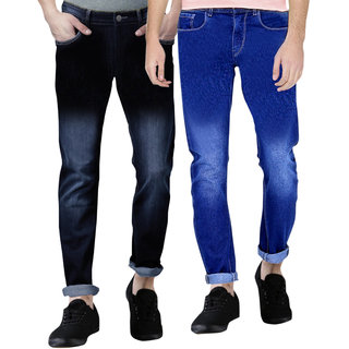 Spain Stylees Men's Multicolor Slim Fit Jeans (Pack of 2)