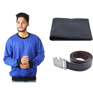 Kristof Blue Sweatshirt With Wallet And Belt