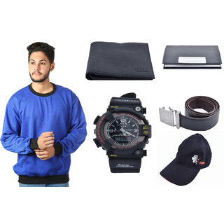 KRISTOF BLUE SWEATSHIRT WITH WALLET, BELT AND CARDHOLDER AND SPORTSWATCH AND CAP