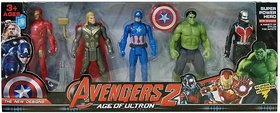Team Avengers Set of Five Action Figures  (Multicolor)