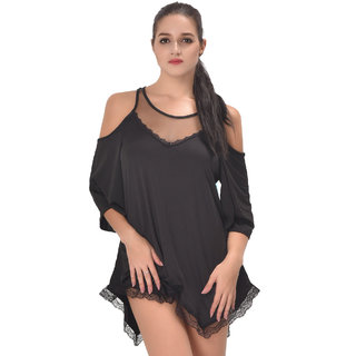 Buy Psychovest Women Hollow Shoulder Irregular Nightwear Babydoll ... 3e4f13e26