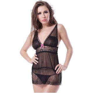 Psychovest Women Sheer Mesh Nightwear Babydoll Set