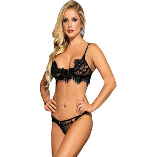 6cb5fa0fee Buy Psychovest Women Embroidered Floral Bra and Panty Lingerie Set ...