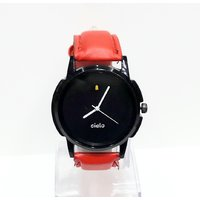 Cielo Red Strap  Black Dial Analog Watch For Men