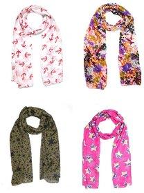 Sri Belha Fashions New Design Muffler Scarf Stole & Scarves (Set of 4)
