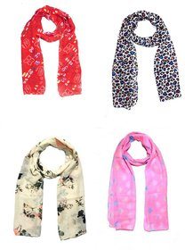Sri Belha Fashions New Design Muffler Scarf Stole & Scarves Set Of- 4