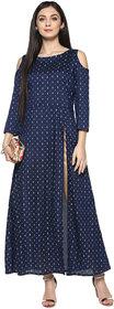 Ziyaa Women's Blue Colour Foil Printed Flared Poly Silk Festive Wear Kurta